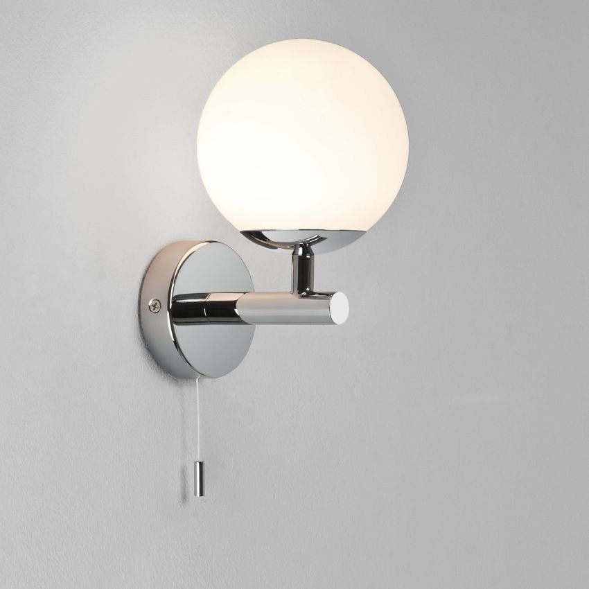 Bathroom Wall Light With Pull Switch : California Bathroom Wall Light in Polished Chrome with Pull Cord Switch and White Opal Diffuser ...