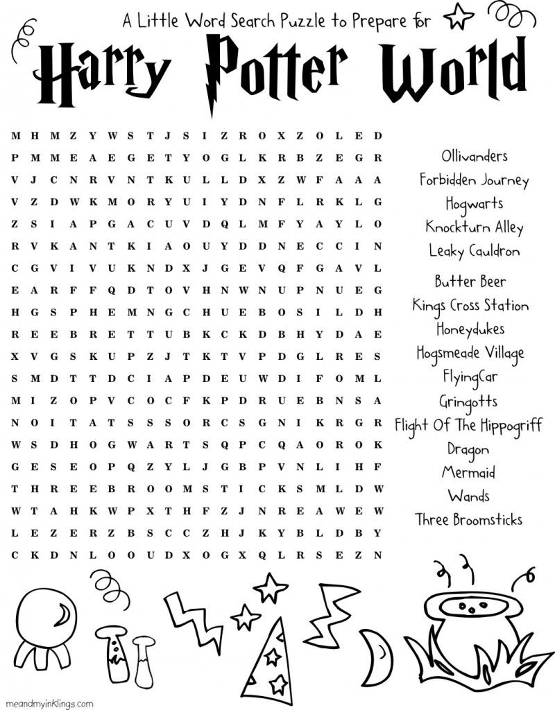 Harrypotter FREE Word Search Puzzle And Planning Ideas For Universal