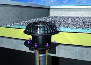A Web Designer Takes On Roofs Drainage Construction Roof Roof Drain Flat Roof Flat Roof Repair