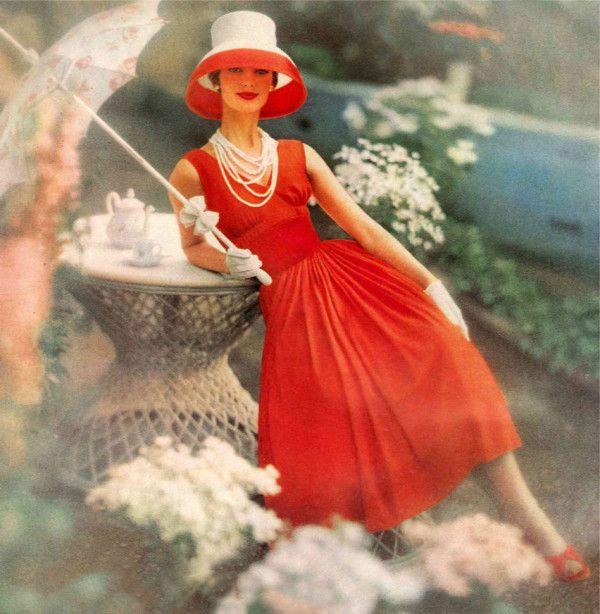 Dolores Hawkins wearing Anne Fogarty 1957