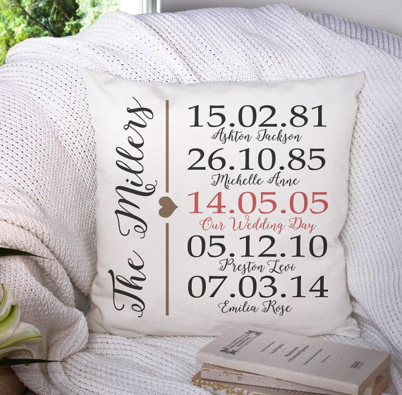 Anniversary Gift Personalized Family Pillow Throw Heirloom Custom Name