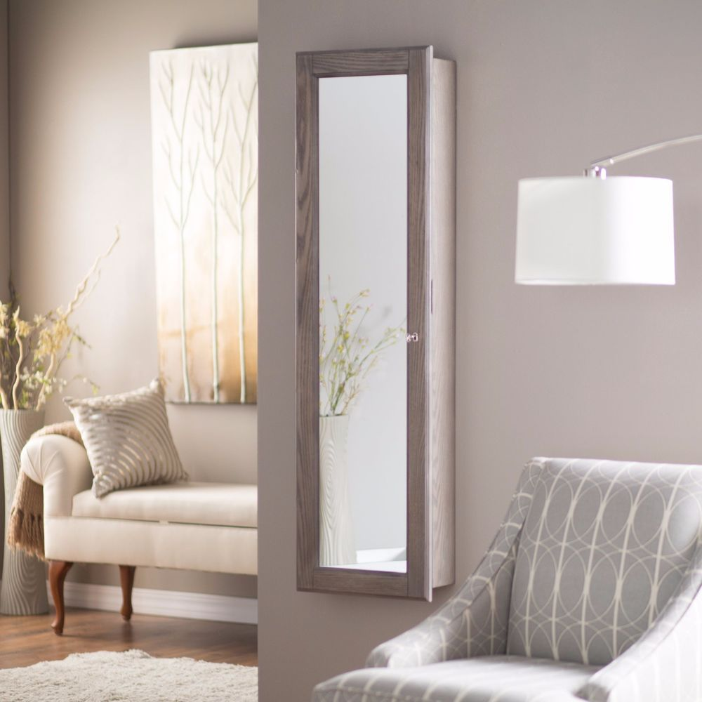 Wall Mounted Jewelry Armoire Mirror Rustic Gray Large