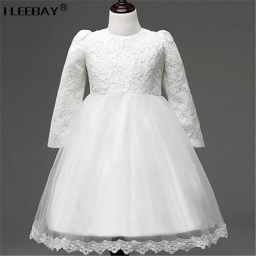 Click to buy ucuc autumn girl evening dress white long sleeve
