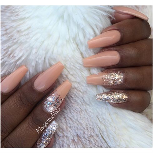 Cream Peach And Rose Gold Coffin Nails by MargaritasNailz | Nail Art ...