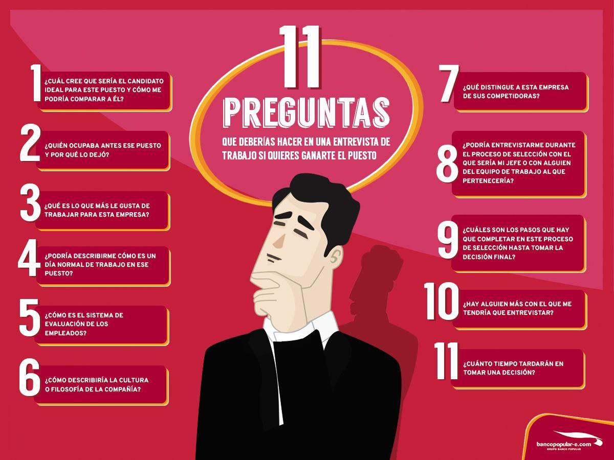 Valora Este Post Hola Una Infografía Con 11 Preguntas Que Debes Hacer En Preguntas Entrevista De Trabajo Entrevista De Trabajo Consejos Entrevista De Trabajo