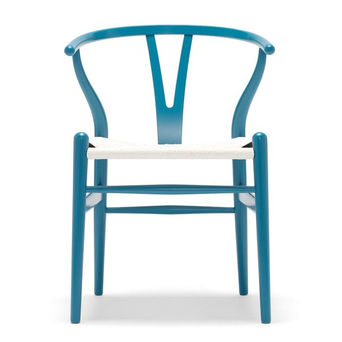 CH24 Wishbone Chair with Colored Frames and White Paper Cord Seat