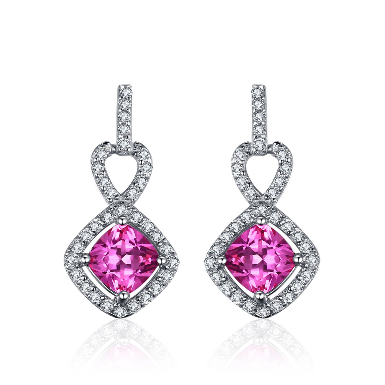 Jewelrypalace Cushion 1.4Ct Square Created Pink Sapphire Drop Earrings925 Silver