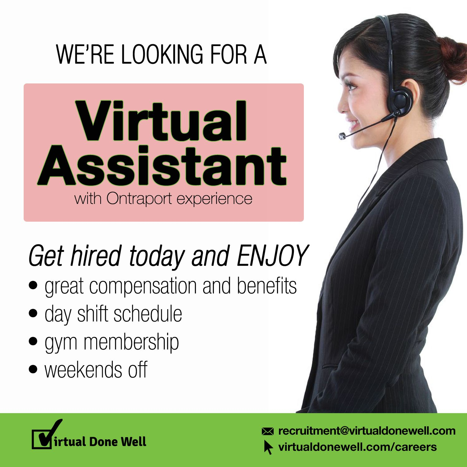 Apply Today And Enjoy Great Benefits Send Your Resume To Recruitment Virtualdonewell Com Or Request Your Interview How To Apply Virtual Assistant Working Life