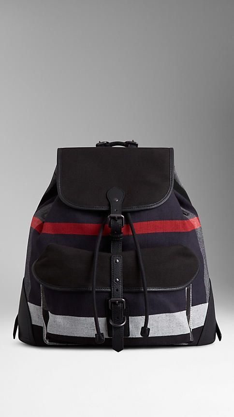 0b977bee3d Black Small Canvas Check Backpack - Image 1