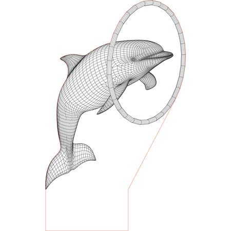 CNC and Jigsaw router Dolphin 3d illusion vector file. Download now.