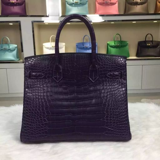 ca8455b923fe Hermes birkin 30CM sew matt crocodile leather blackcurrant purple ...