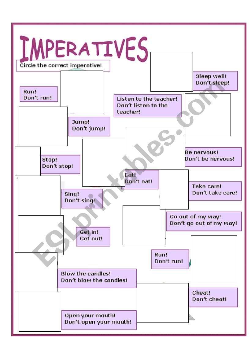 imperatives worksheet ejercicio grammar worksheets english vocabulary y worksheets. Black Bedroom Furniture Sets. Home Design Ideas