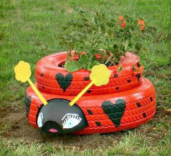 Jard n ruedas jardins pinterest for Decoracion con neumaticos