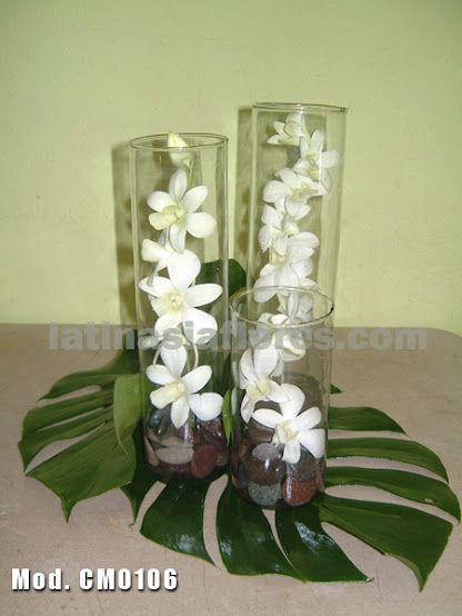 White dendrobium orchid wedding centerpiece green