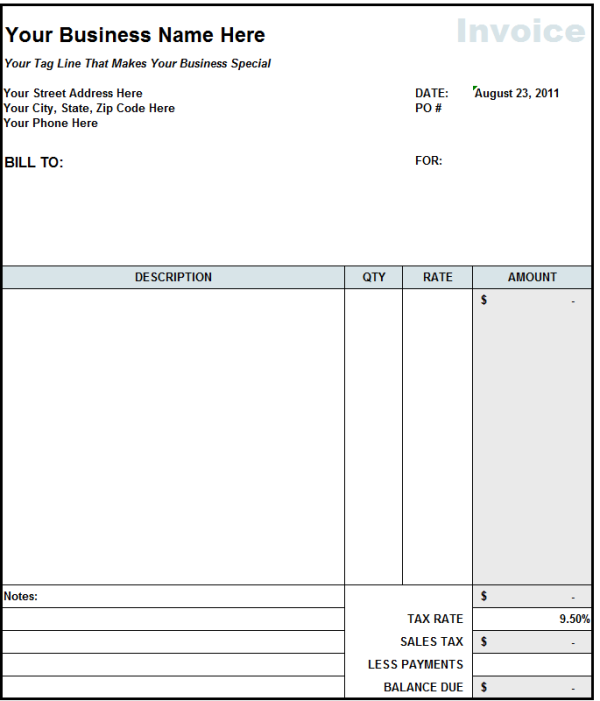 Blank Invoice Statement Form | Free Invoice Template From Fast Easy  Accounting  Bills Template Free
