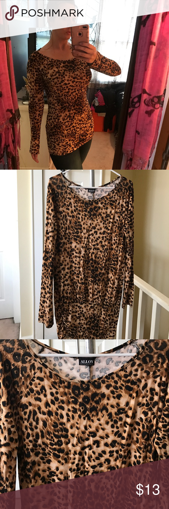 Alloy Long sleeve leopard print tunic top! Super cute leopard print long sleeve tunic top! Could be worn with jeans or leggings or even worn as a dress! Size XL brand-new never worn only tried on! ALLOY Tops Tunics