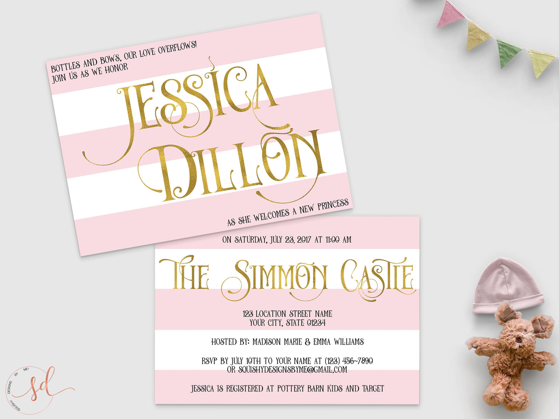 Princess Baby Shower Invitation, Pink White Gold Stripes Baby Shower ...