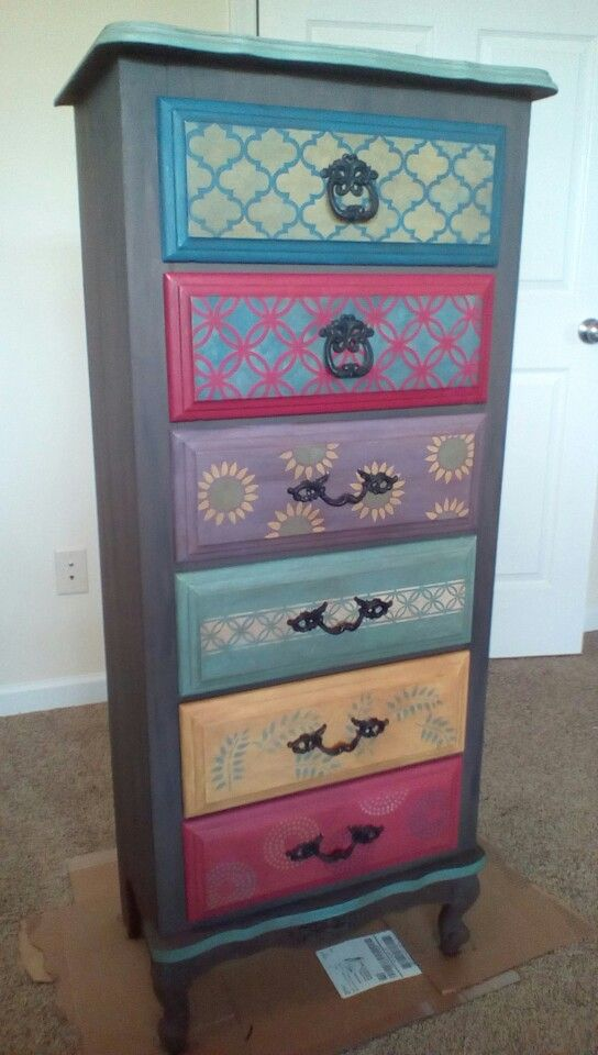 Whimsical Chalk Painted Chest Of Drawers Painting Furniture Diy