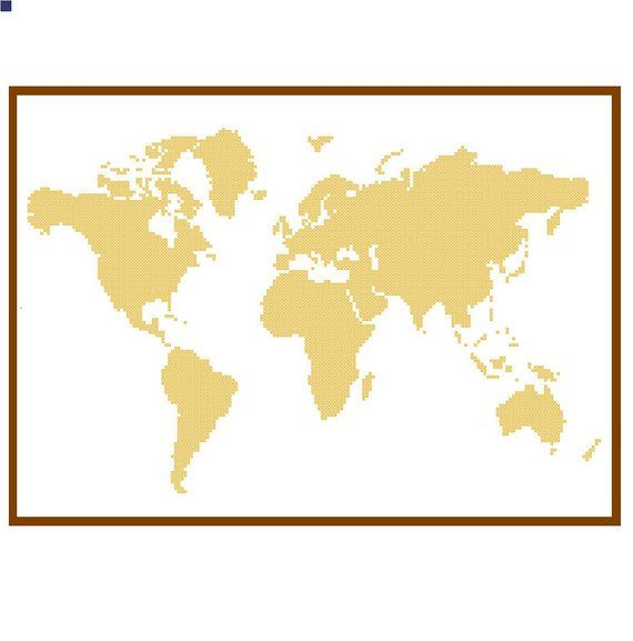 World Map Cross Stitch Pattern modern cross stitch pattern cross