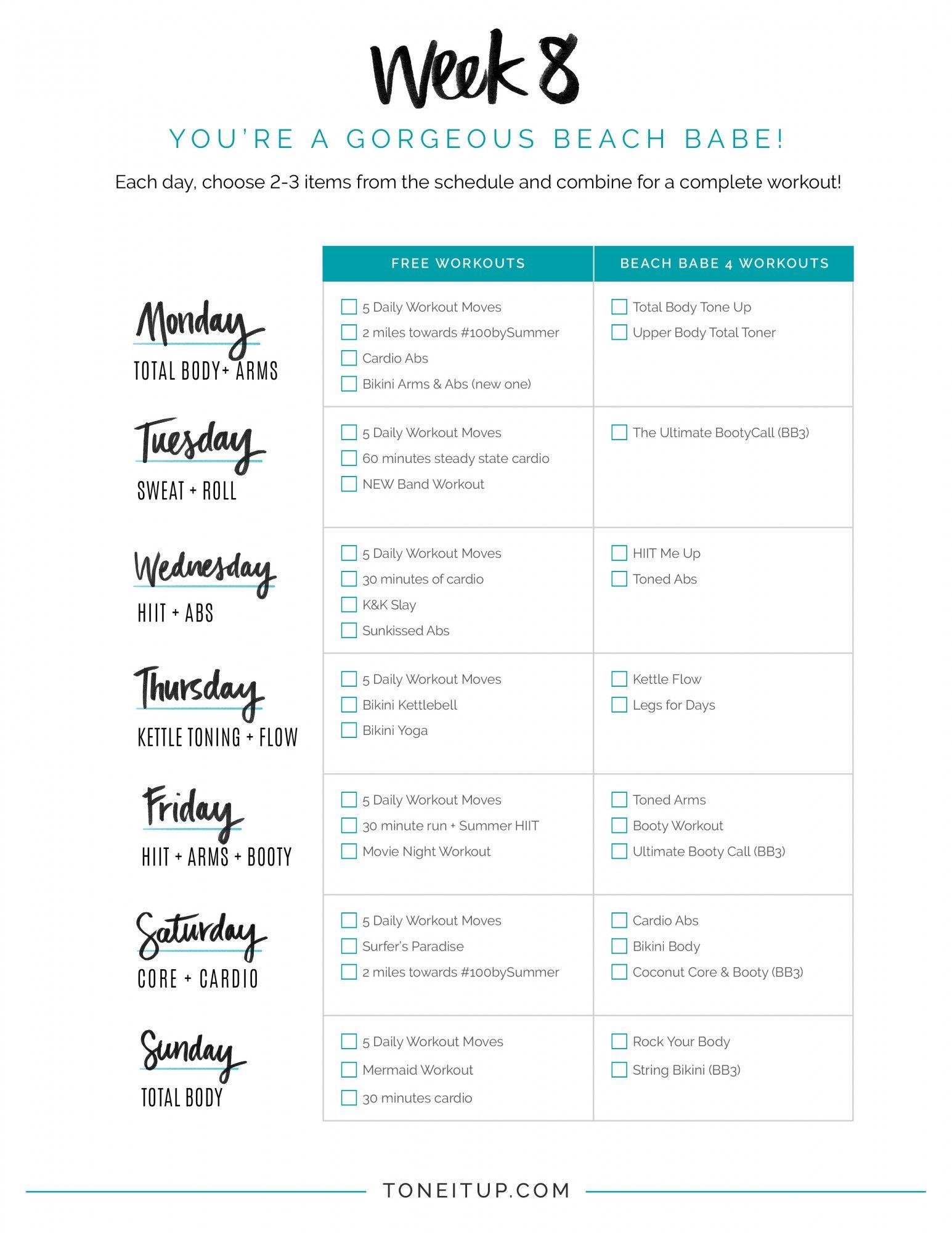 Bikini Series Week 8 Workout Schedule