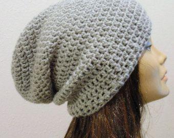 2d4f16399fd Slouchy Beanie Gray Hat - Crochet Slouch Beanie Womens Grey Beanie ...