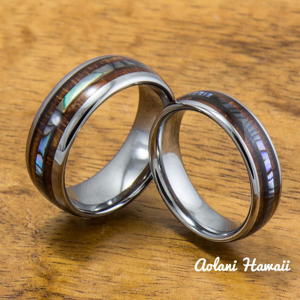 Abalone and koa wood inlay tungsten ring 6mm 8mm width