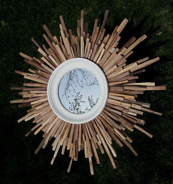 Large Handcut Walnut Wood White Starburst Sunburst By Fallenwalnut 205 00 Wood Starburst Mirror Sunburst Mirror Starburst Mirror