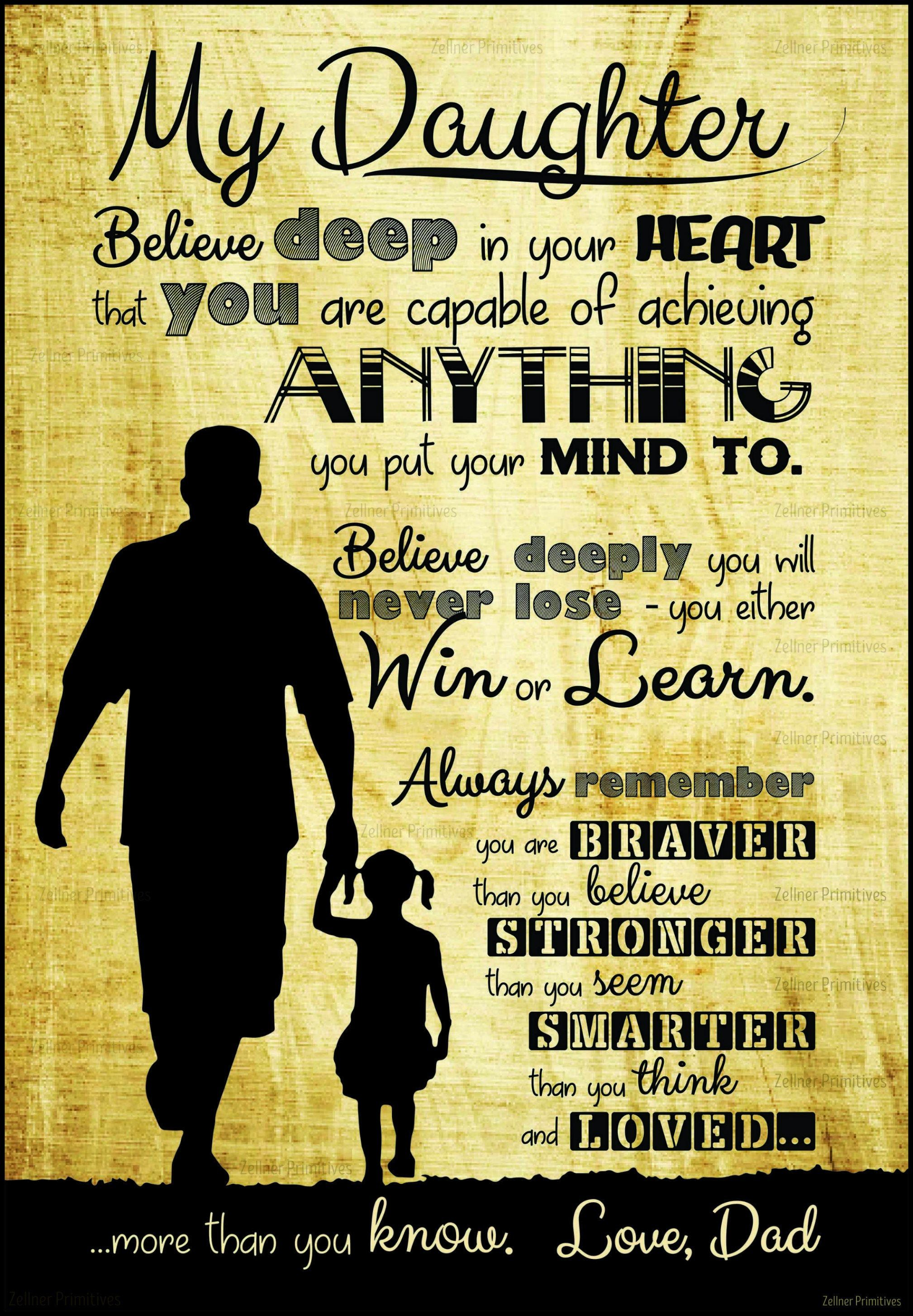 My Daughter / Gift from dad or mom / Print adhered