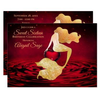 Golden Mermaid with Red Heart Sweet 16 Birthday Invitation | Zazzle.com #sweet16birthdayparty