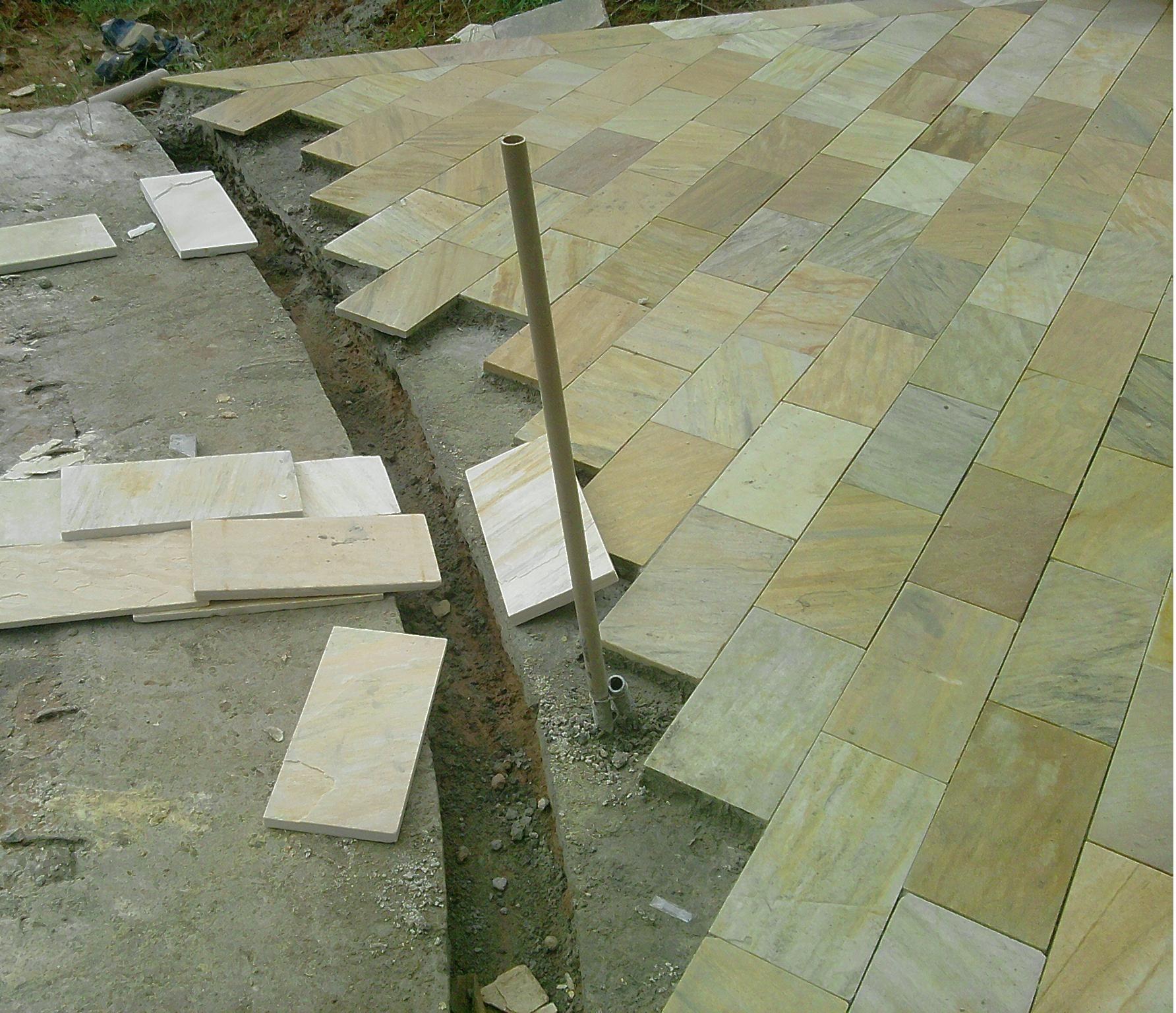 Cal adas e garagem se as pedras forem colocadas em - Sacar escuadra para colocar piso ...