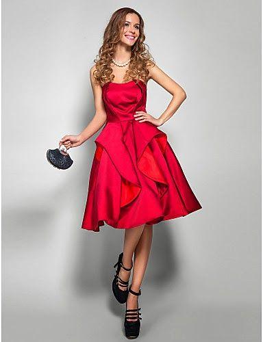1fbdb8e45 Vestido rojo de satén hasta la rodilla   Vestidos de Fiesta Baratos ...