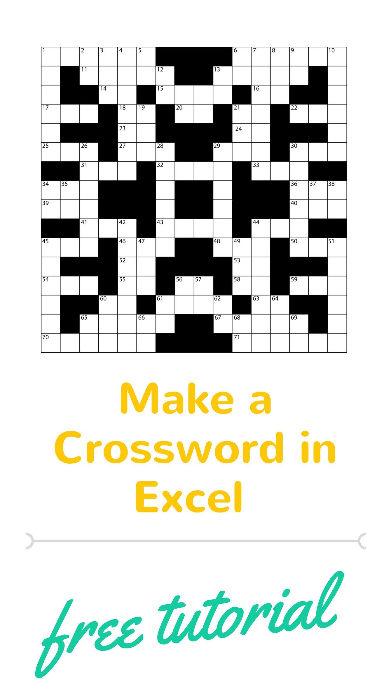 Tutorial On How To Make A Crossword Puzzle In Excel This Way Your Puzzle Can Have The Words You Want For T Excel Tutorials Crossword Puzzles Crossword Puzzle