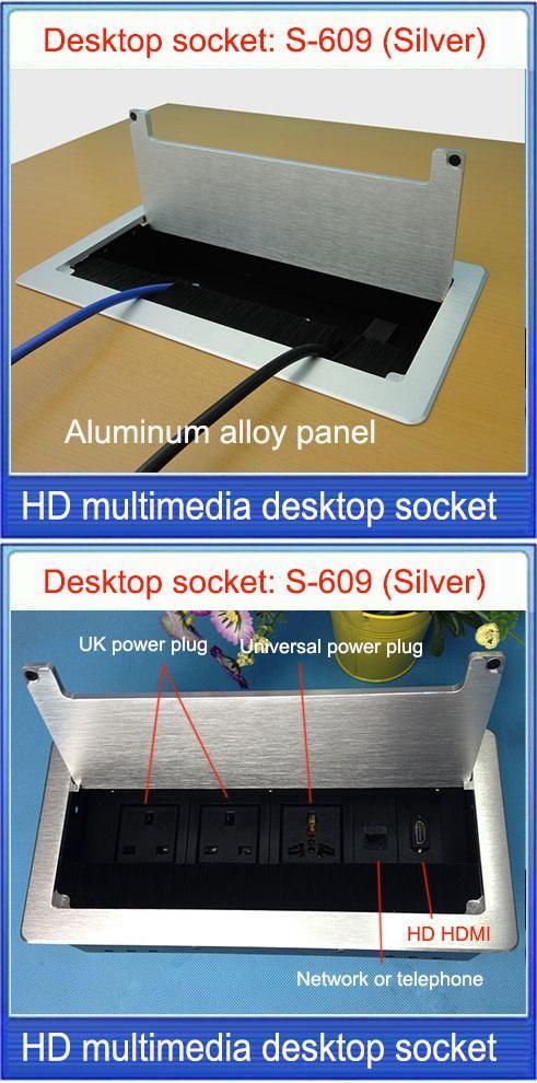 UK Plug Tabletop Socket Hidden HDMI Network RJ Information - Conference room table outlets