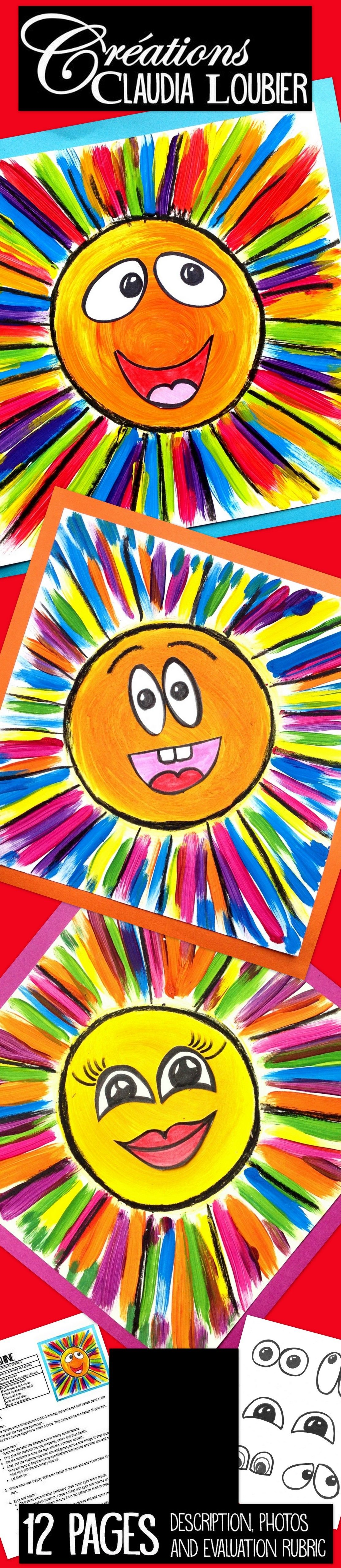 Here is my way of introducing the children to colour mixing. With this simple project, the students learn how to create their secondary colours by using the primary colours. For preschool up to Grade 2. You will need liquid tempera paint, white cardboard, and black wax crayons or felts. I drew some examples of eyes and mouths for the younger students. They can be inspired by my examples or just glue them on. Bring some sunshine into your classroom!