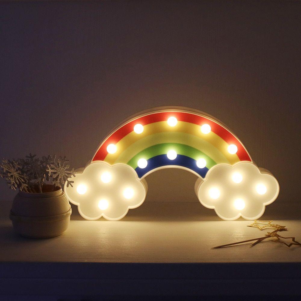Lámparas De Pared De Arco Iris De Luz Nocturna Con Pilas Para Decoración Para Dormitorio Infantil Lámpara Lámparas De Pared Luces De La Noche Letras De Luces