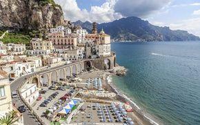 Wallpaper Atrani, Italy, view, Europe, panorama, travel, the city, Salerno, city, cityscape, beach, coast, beach, Italy, ...