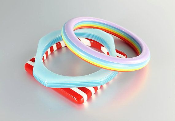Striped Lucite Bangle bracelet lot Stack Stackable by RMSjewels