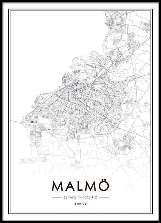malmö karta poster Svartvit Malmö karta. | Tavlor | Pinterest malmö karta poster