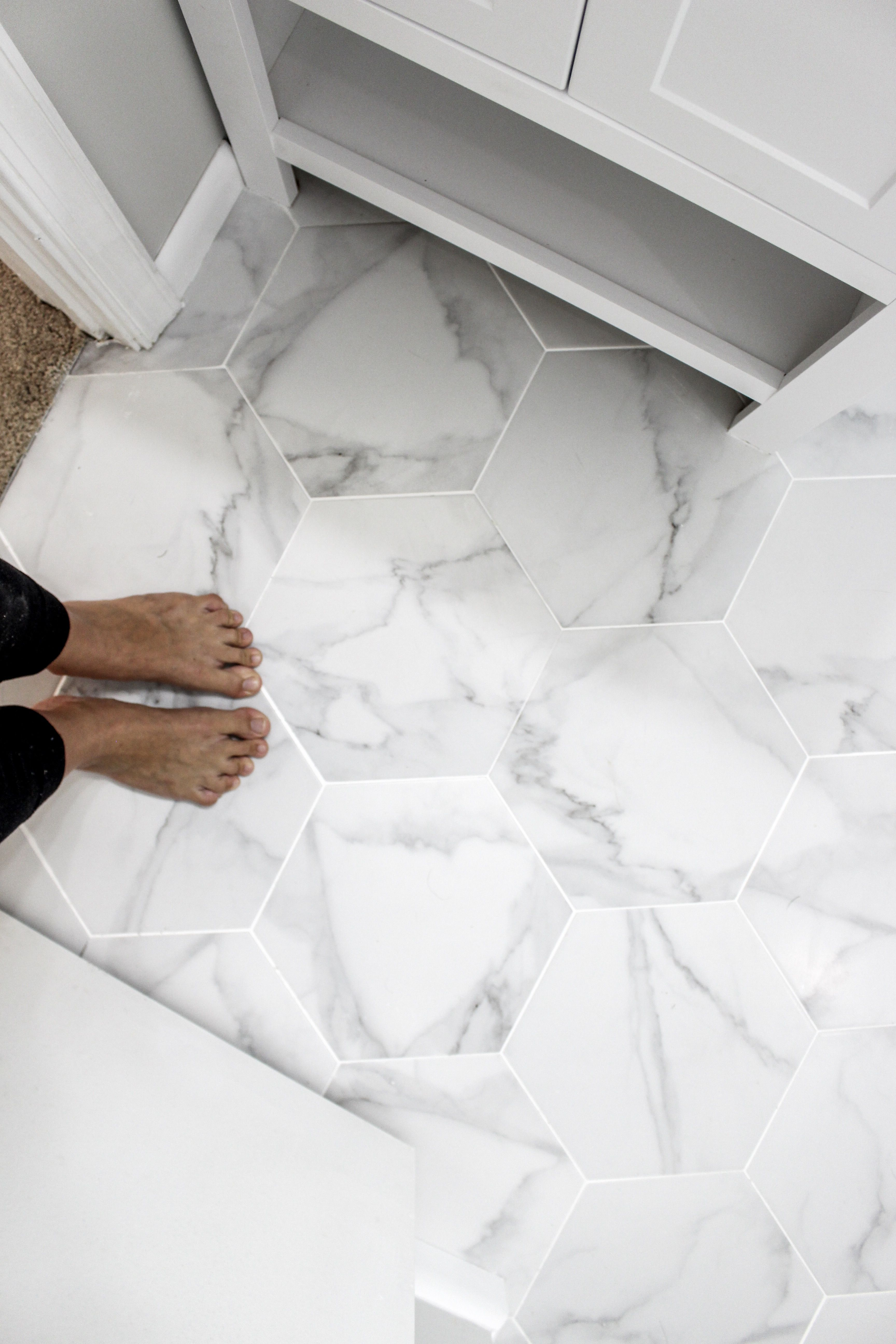 This Porcelain Hexagon Floor Tile we are swooning