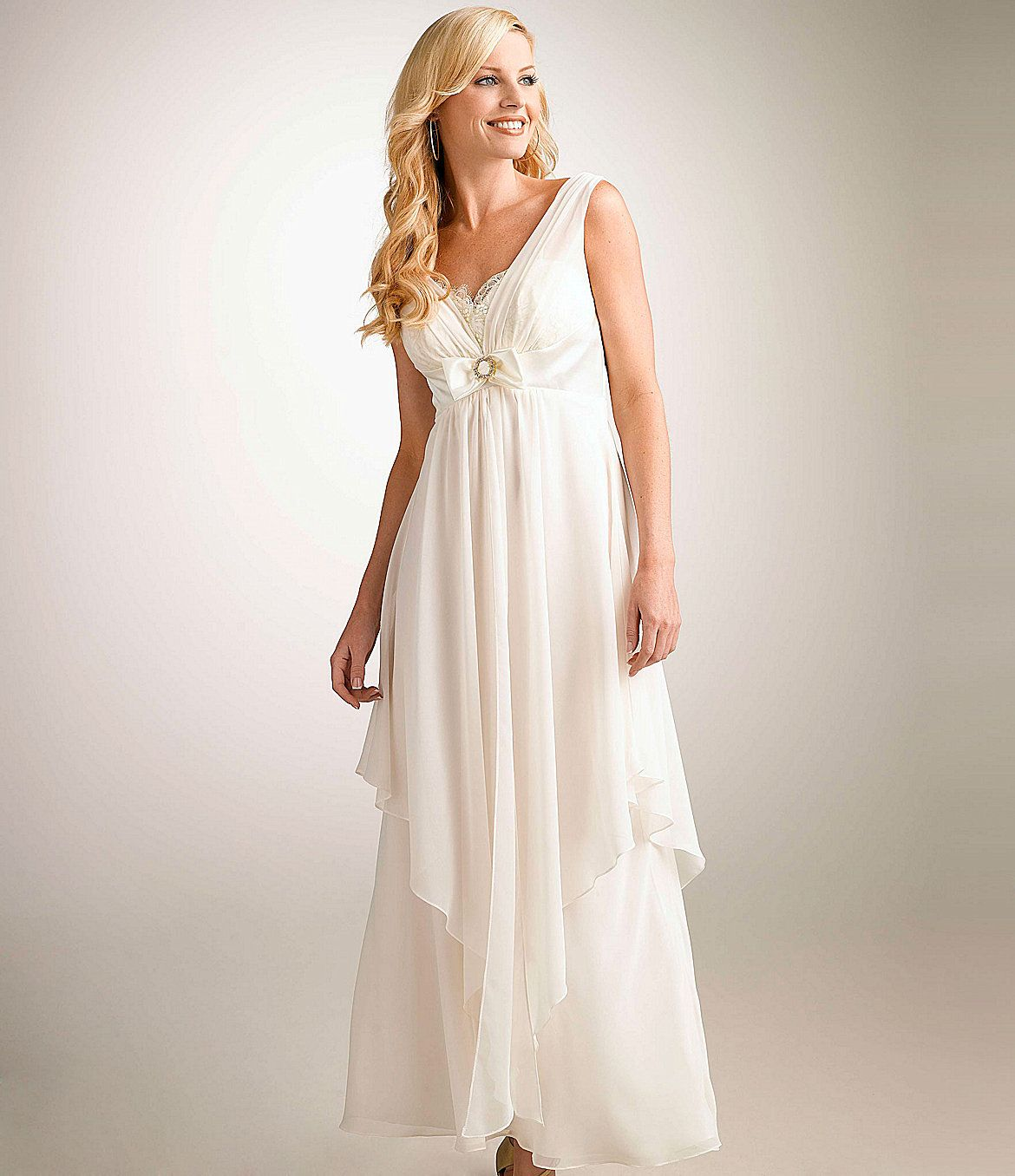 Betsy u adam asymmetrical chiffon gown dillards wedding
