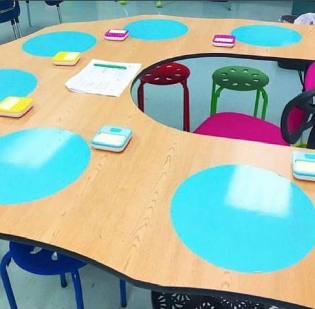 Dry erase spots stuck to the table! 50 AMAZING Teacher Hacks