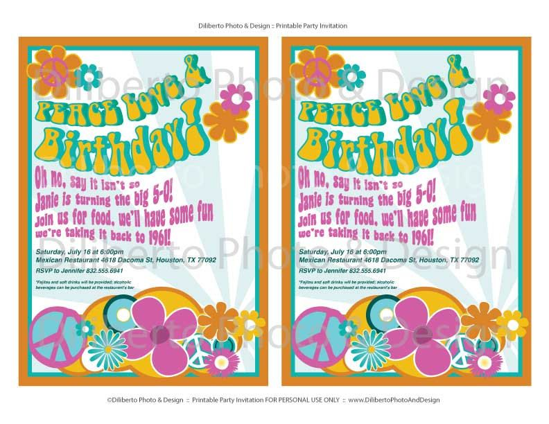 PRINTABLE Party Invitation Hippie 1960s by dilibertodesign, $12.00 ...