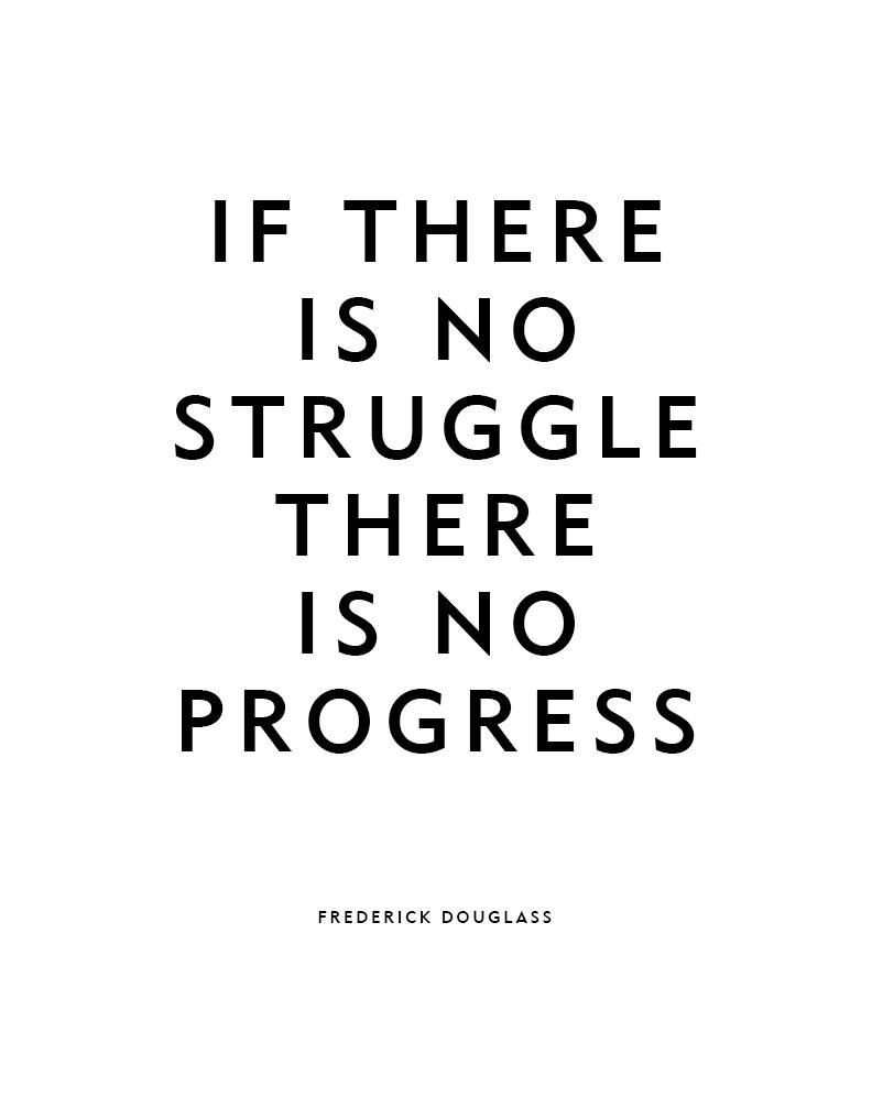 Motivational Quote Poster or Print No Struggle Frederick Douglass Quote - 20x30 / White text on black background