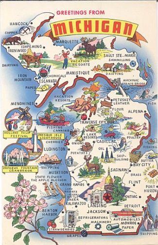 vintage state postcards Vintage Michigan Postcard Greetings From