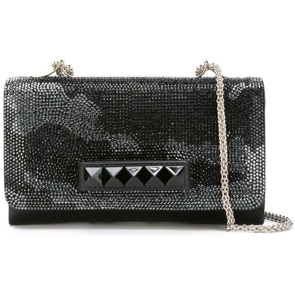 Valentino Garavani Va Va Voom Shoulder Bag ($4,495) ❤ liked on Polyvore featuring bags, handbags, shoulder bags, black, camo handbags, camoflauge purse, leather handbags, chain strap handbag and genuine leather shoulder bag