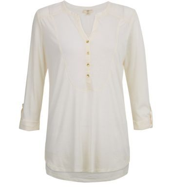 Cream Bib Front Rolled 3/4 Sleeve Jersey Shirt
