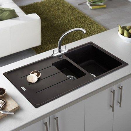 Vellamo Horizon 1 5 Bowl Black Granite Composite Kitchen Sink Waste Kit And Savu Mono Pull Out Mixer