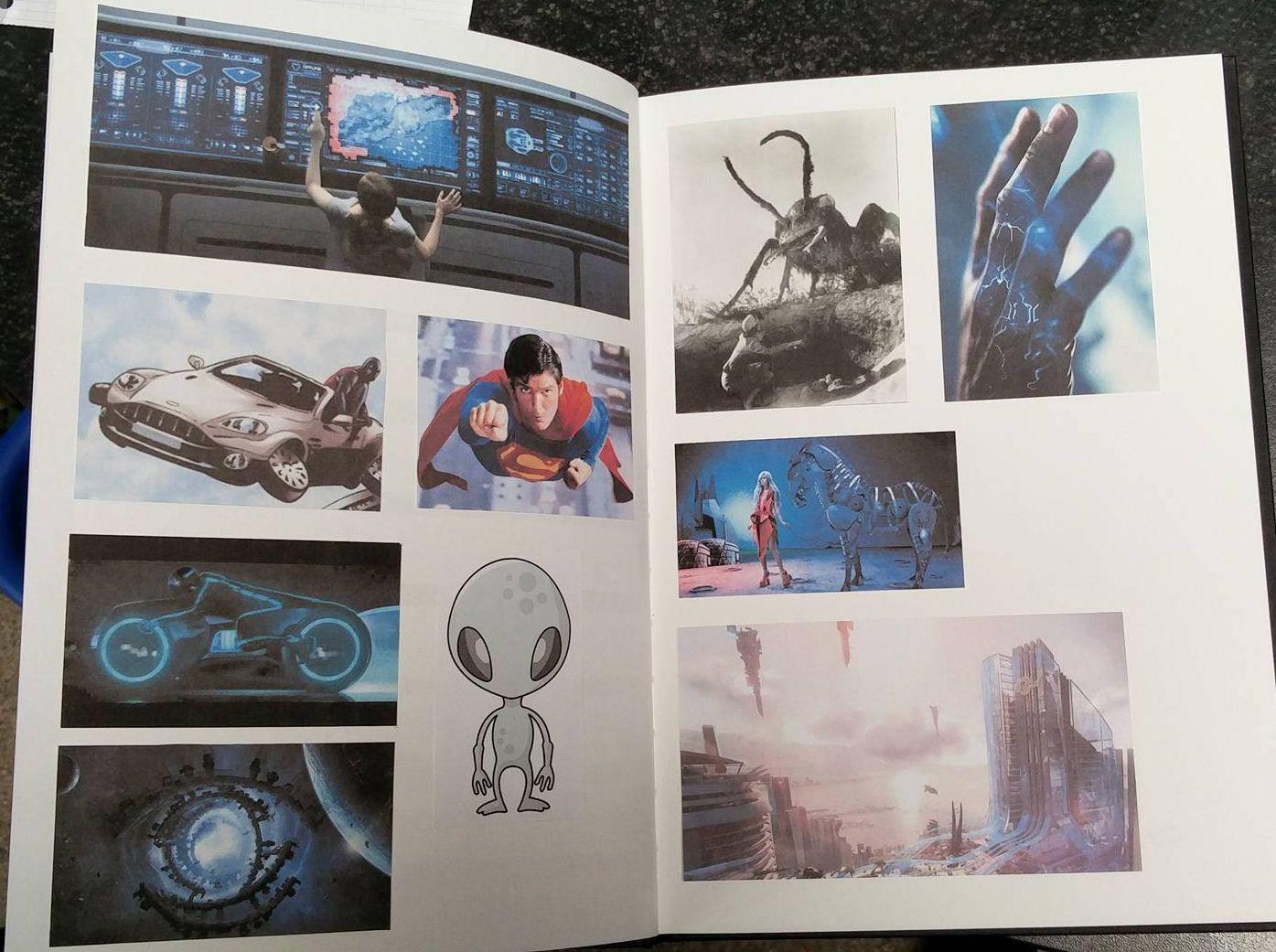 10 verschillende afbeeldingen (foto's, illustraties, grafische elementen) van science fiction