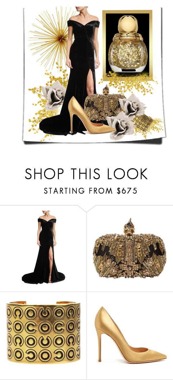 """Ball Gown"" by aquadecorator ❤ liked on Polyvore featuring Rachel Gilbert, Alexander McQueen, Chanel and Gianvito Rossi"