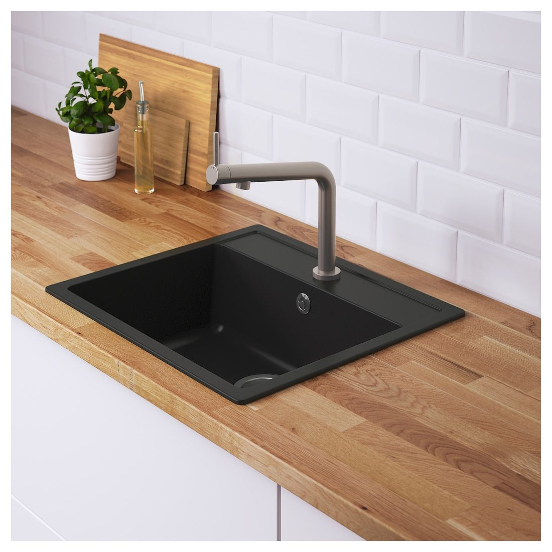 Hallviken Indbygningsvask Enkelt Sort Quartzkomposit 56x50 Cm Kokkenvandhane Handvask Kokkenvask